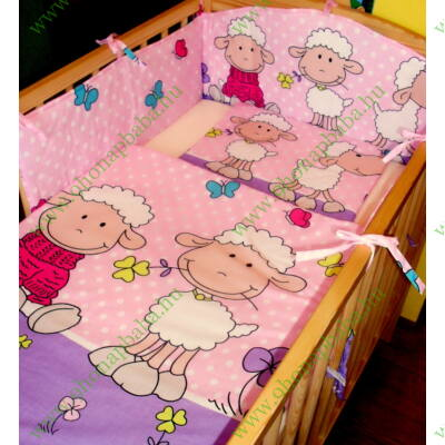 9 Hónap - 3 részes baba ágynemű  - rózsaszín/lila Barika