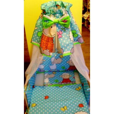 9 Hónap - 4 részes baba ágynemű - kék/zöld barika - flanel