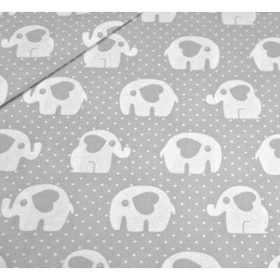 Ovis-gyermek ágynemű huzat - Szivecske elefánt - szürke