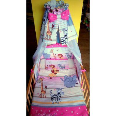 9 Hónap - 4 részes bébi ágynemű - Rózsaszín szafari