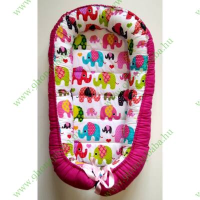 XL többfunkciós babafészek - Pink elefánt