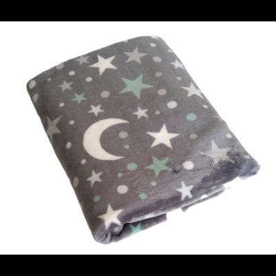 Flanel - plüss- takaró 80x120 cm Csillagok