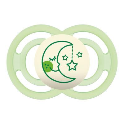 Mam Perfect night szilikon 6+ hónap sterilizáló dobozzal - Zöld hold