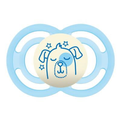 Mam Perfect night szilikon 6+ hónap sterilizáló dobozzal - Kék kutyus