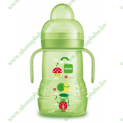 Mam Trainer tanulópuhár -extra puha ivócsőrrel és plusz egy csepegés mentes etetőfejjel- Green