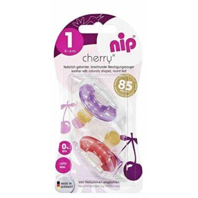 Nip cseresznye alakú latex cumi 1-es - lila/pink