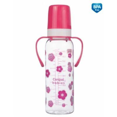 Canpol cumisüveg 250 ml - 12 hónapos kortól - cseresznye alakú cumival, fogókával - pink