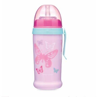 Canpol szívószálas itató cseppmentes szilikon szívószállal 350 ml - pink pillangók