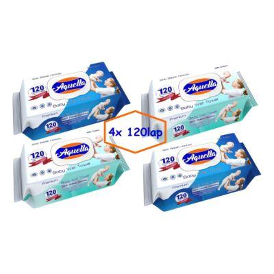 Aquella Baby nedves törlőkendő 4x120 db-os kupakos (kék vagy zöld) Mega pack