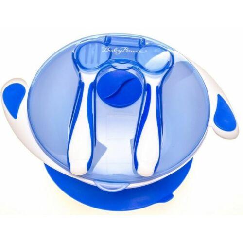 Baby Bruin tapadókorongos tányér szett - tetővel és evőeszközzel - KÉK