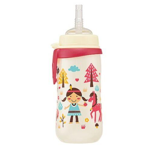 Nip szívószálas pohár cseppmentes szilikon szívószállal 330 ml Pink