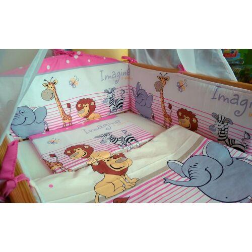 9 Hónap - 4 részes bébi ágynemű  - Pink szafari