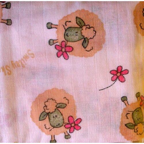 Baby Bruin mintás tetra pelenka 2 db - rózsaszín bari